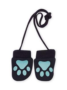 Baby boy blue fleece mittens MYUTUMOU / 21WI1051GANC234