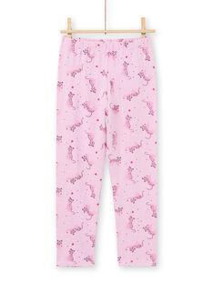 Girl's pink T-shirt and pants pajama set MEFAPYJAGU / 21WH1171PYGH700