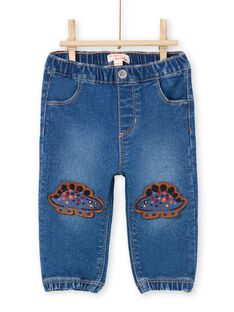 Baby boy blue jeans with dinosaur patches MUPAJEAN / 21WG10H1JEAP274