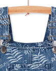 Blue and white denim dungarees with floral print LANAUSAC / 21S901P1SACP274