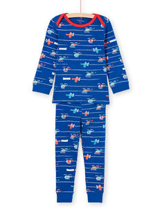Baby boy blue and red stripes and helicopter print pajama set MEGOPYJAVIO / 21WH1285PYJC214