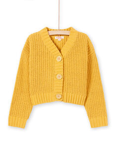 Girl's yellow knitted long sleeve cardigan MAMIXCAR1 / 21W901J2CARB106