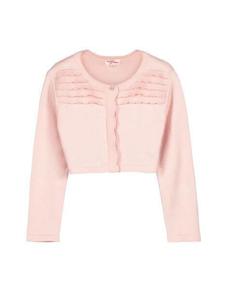 Girls' cotton knit bolero cardigan FAPOCAR2 / 19S901C2CAR307