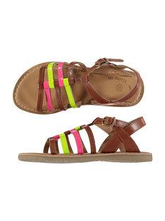 Girls' smart fluo leather sandals FFSANDVIA / 19SK35C7D0E030