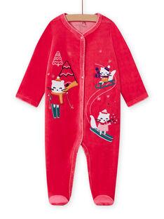 Pink velvet romper with mountain kittens pattern baby girl MEFIGRESKI / 21WH1393GRE308
