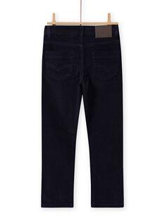 Boy's corduroy pants - plain blue MOJOPAVEL4 / 21W90211PAN705