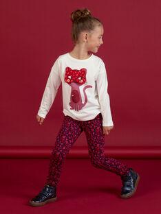 Girl's ecru long-sleeved t-shirt with masked cat animation MAFUNTEE2 / 21W901M2TML001