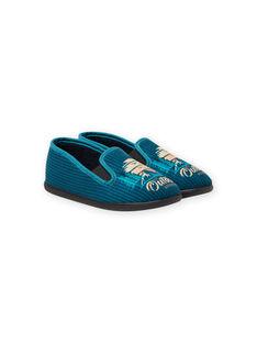 Boy's petrol blue slippers with landscape design MOPANTOUT / 21XK3621D0B715