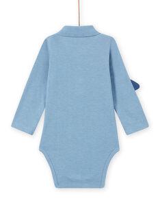 Baby boy's mottled blue bodysuit with space collar MUPLABOD / 21WG10O1BODC224