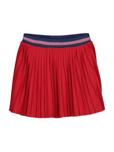 Girls' cotton pleated skirt FACOJUP1 / 19S90181JUP050