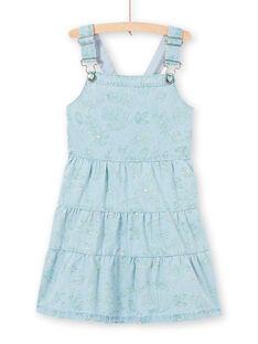 Girl's light blue denim dungarees with foliage print LAVEROB4 / 21S901Q3ROBP272