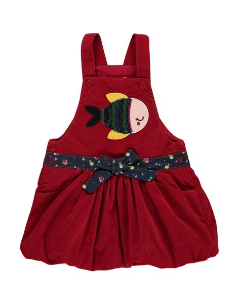 Baby girls' strappy velour dress DINAUROB3 / 18WG09G4ROB511