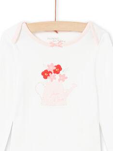 Baby girl's pink and ecru bodysuit MEFIBODJAR / 21WH13B3BDL001