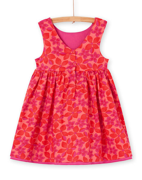 Reversible red and pink floral print dress LAVIROB2 / 21S901U3ROB419