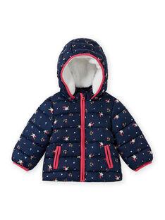 Baby girl navy blue floral print hoodie MIKADOU / 21WG0952D3E070