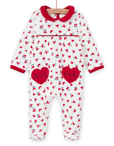Off white romper with hearts print baby girl MEFIGREMIX / 21WH1331GRE001