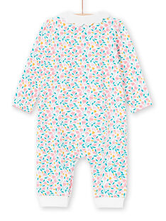 White and pink floral print baby girl sleep suit MEFIGREFLE / 21WH1334GRE001