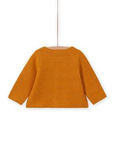 Baby girl mustard embroidered cardigan MIMIXCAR / 21WG09J1CARB106