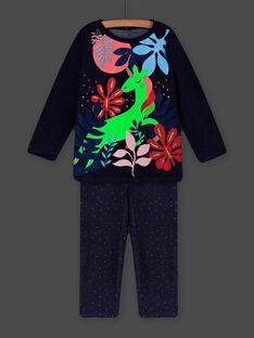 Pyjamas in velvet with phosphorescent unicorn motif child girl MEFAPYJORN / 21WH1181PYJ070