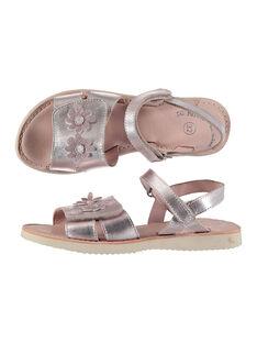 Girls' smart metallic leather sandals FFSANDSAM / 19SK35C3D0E030