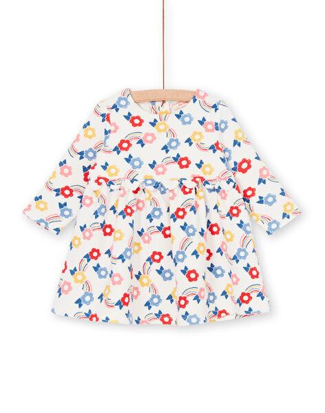 Blue and blue baby girl flower print dress LIHAROB1 / 21SG09X1ROB001