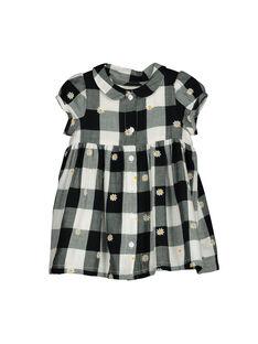 Baby girls' checked short-sleeved dress FILIROB3 / 19SG0923ROB001