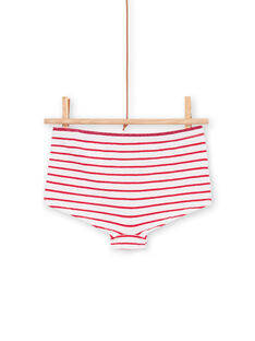 Set of 5 red, white and yellow striped shorts for children and girls LEFAHOTSEM / 21SH1125SHY000