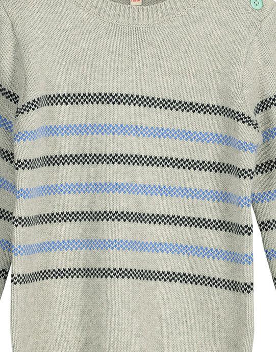 Boys' striped cotton sweater FONEPUL / 19S902B1PULJ906