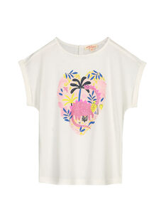 Girls' ecru printed T-shirt GABLETI2 / 19W90192TMC001