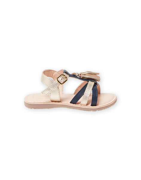 Girl's gold and navy blue leather sandals with tassels LFSANDLOUISE / 21KK355PD0E954