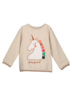Girls' unicorn print sweatshirt GAVESWEA / 19W90121SWE006
