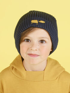 Midnight blue knitted hat child boy dog embroidery MYOGROBON1 / 21WI0255BON705