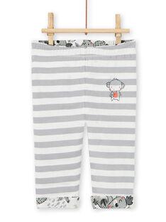 Reversible pants gray and ecru baby boy koalas print LUPOEPAN2 / 21SG10Y1PAN001