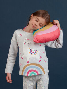 Child girl grey fleece pajamas with phosphorescent llama pattern MEFAPYJLAM / 21WH1194PYJJ920