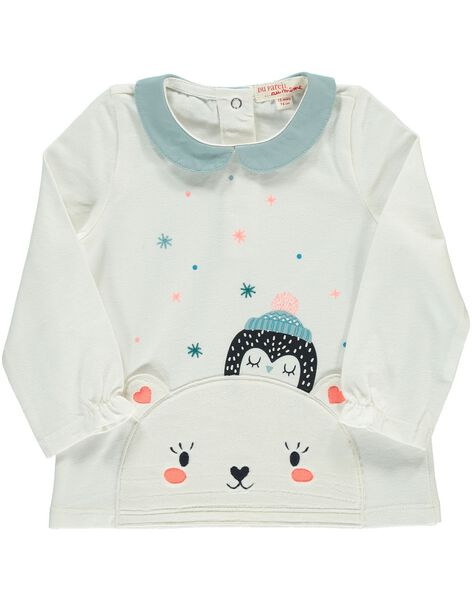 Baby girls' T-shirt with a Peter Pan collar DIGIBRA / 18WG09N1BRA001