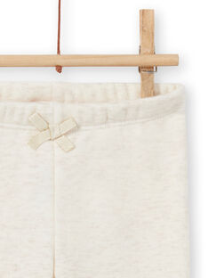 Baby girl's beige lined legging with embroidered bunnies MIJOPANDOU1 / 21WG0911PANA011