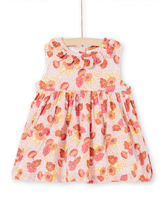 Pink, ecru and yellow dress with floral print and polka dots LITERROB2 / 21SG09V1ROB001