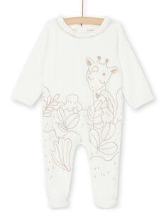 Sleepsuit ecru and gold velvet baby girl LEFIGREGIR / 21SH135BGRE001