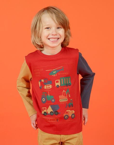 Boy's red and orange T-shirt MOCOTEE4 / 21W902L3TMLF521