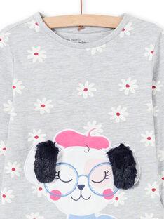 Girl's grey t-shirt and pants pajama set MEFAPYJDOG / 21WH1185PYJ943