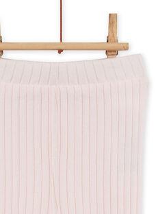 Baby girl's plain pink ribbed legging MYIJOLEGCO2 / 21WI0913CAL632