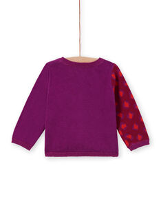 Baby girl purple knitted cardigan with leopard print MIPACAR / 21WG09H2CAR712