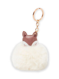 Girl's brown and ecru fox pompon key ring MYACLACLES2 / 21WI01G4D5M420