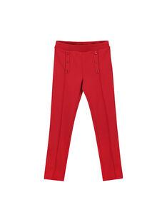 Girls' red Milano knit trousers FAJOPANT3 / 19S90132D2B050