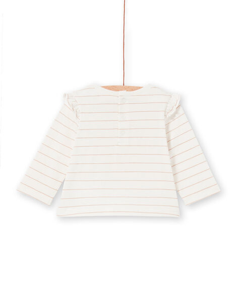 T-shirt ecru and yellow striped baby girl LIPOETEE2 / 21SG09Y1TML001