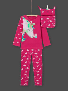 Girl's dark pink T-shirt and pants pajama set MEFAPYJLIC / 21WH1173PYGD312