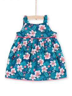 Baby girl petrol blue dress with floral print LIBONROB3 / 21SG09W3ROB716
