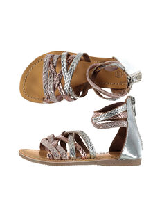 Girls' smart metallic plaited leather sandals FFSANDROX / 19SK35C2D0E956