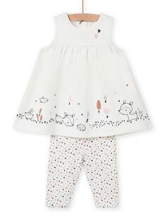 Baby girl dress and leggings set with fantasy pattern MOU1ENS6 / 21WF0342ENS001