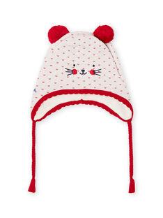 Baby girl jacquard knit hat with pompons MYIMIXBON / 21WI0951BON001